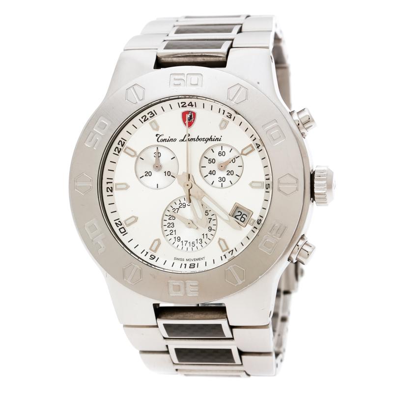 Tonino Lamborghini Silver Stainless Steel EN Models 10E Men's Wristwatch 42 mm