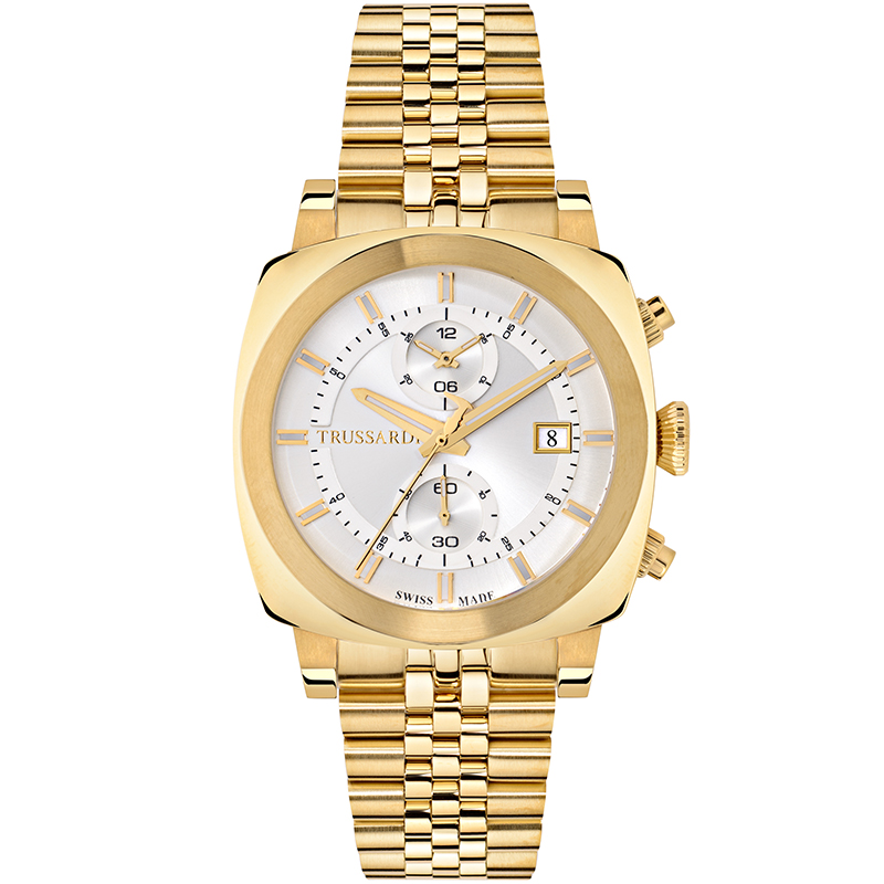 Trussardi Silver Gold Plated Stainless Steel Trussardi 1911 Men's Wristwatch 42MM