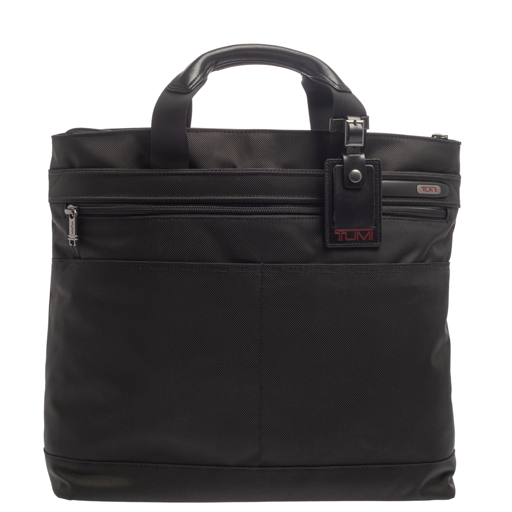 Pre-owned Tumi Black Nylon And Leather Companion Tote