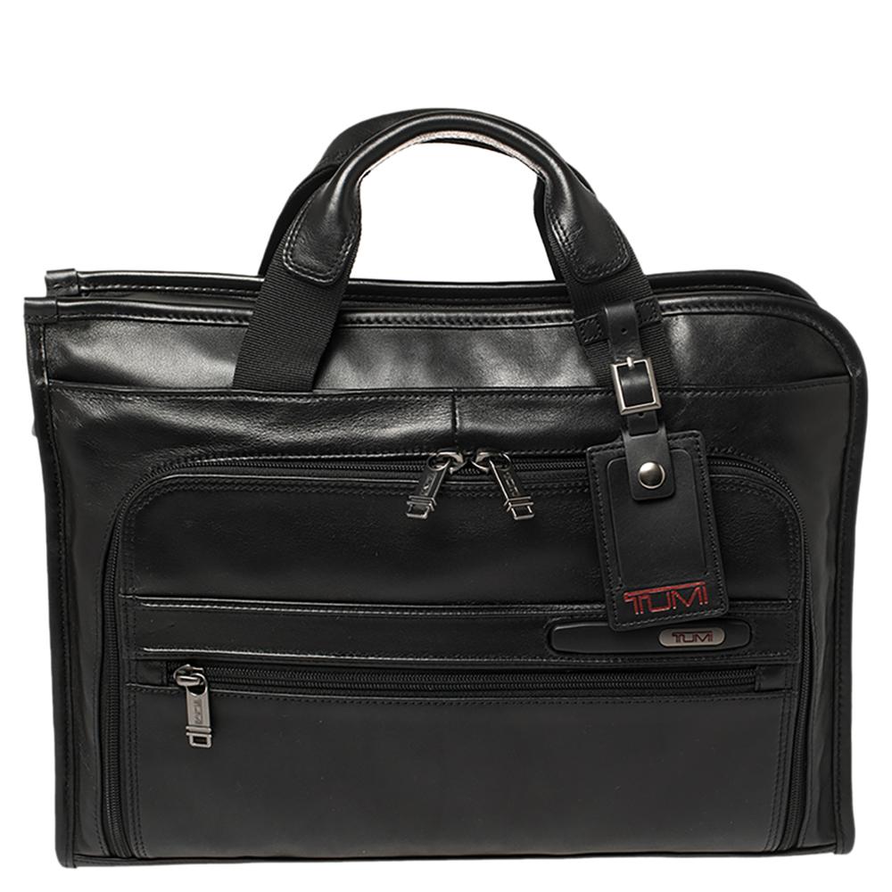 Pre-owned Tumi Black Leather Gen 4.2 Slim Deluxe Portfolio Bag