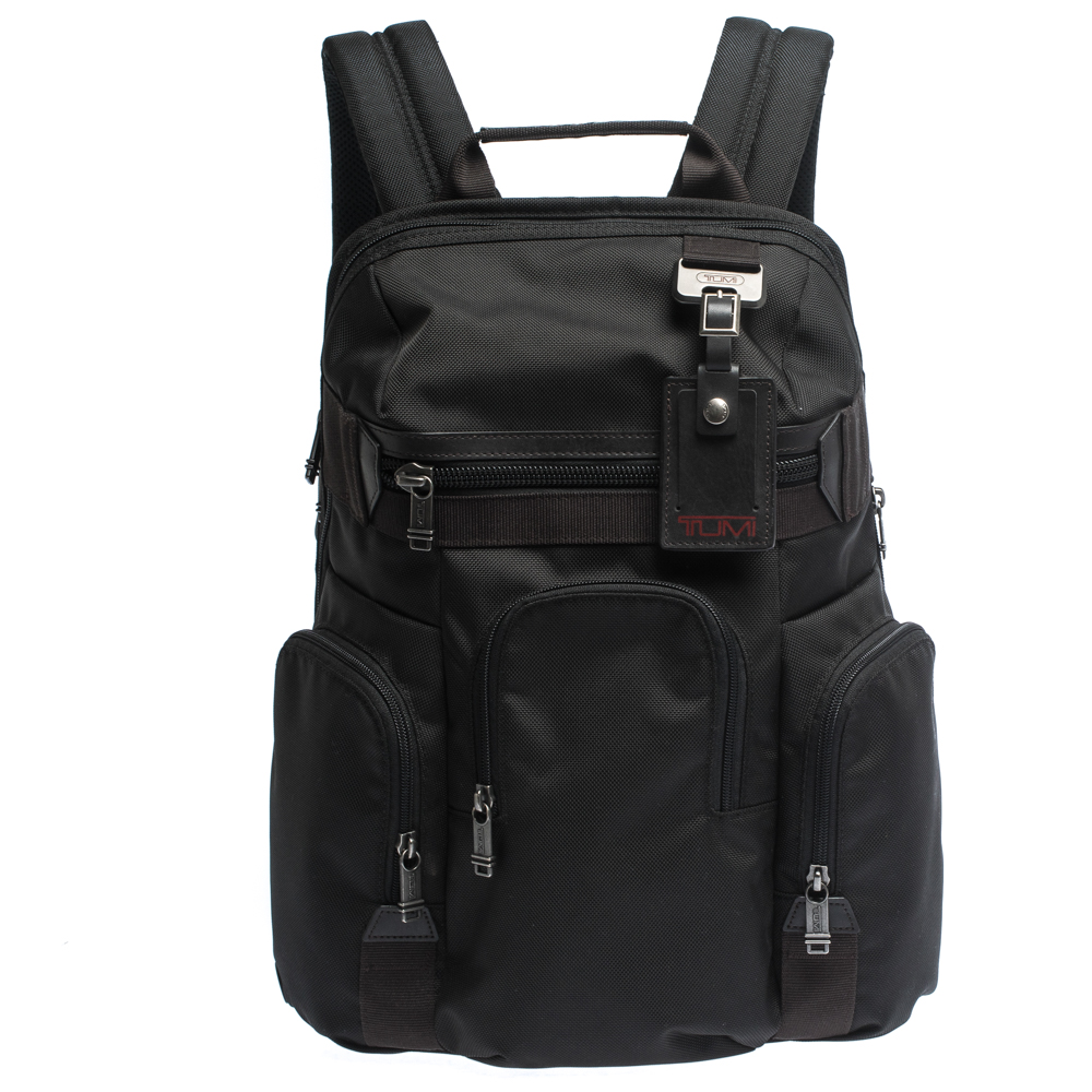 Tumi Black Nylon and Leather Nickerson 3 Pocket Expansion Backpack