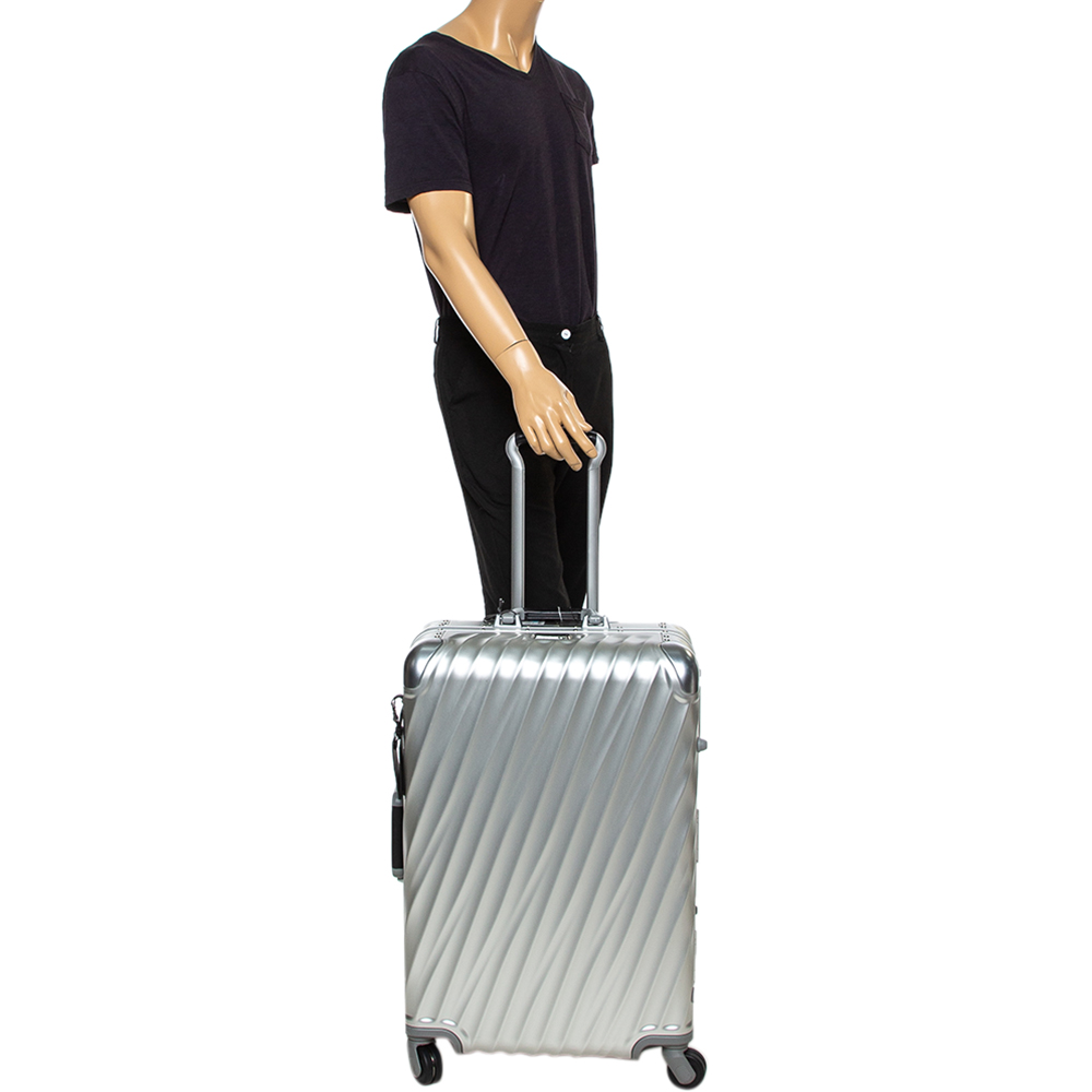 TUMI Silver Aluminum 4 Wheel Short Trip Packing Case 19 Degrees Luggage 65  - buy with discount