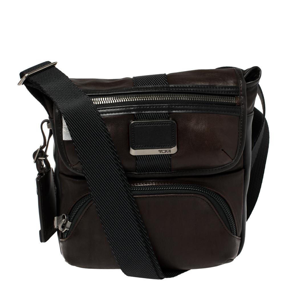 Pre-owned Tumi Dark Brown/black Leather Barton Crossbody Bag