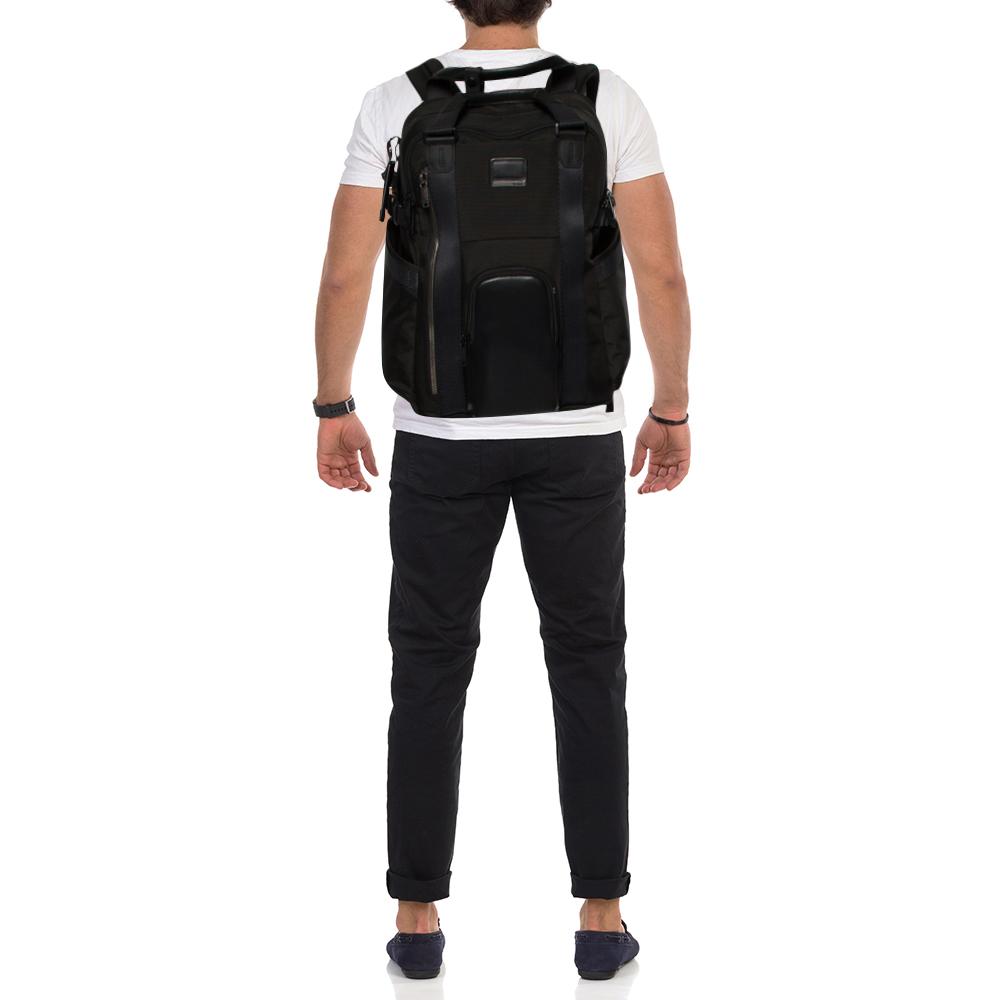 TUMI Black Nylon and Leather Alpha Bravo Kings Backpack Tote