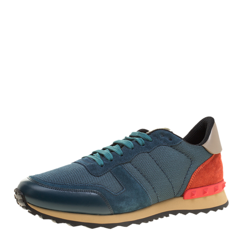 2d81bc13cc2ca Buy Valentino Multicolor Mesh/Leather and Suede Rockrunner Sneakers ...