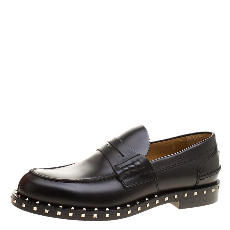 a85415a1f1750 ... Valentino Black Leather Soul Rockstud Penny Loafers Size 40. nextprev.  prevnext