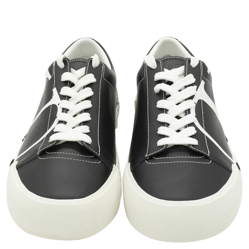 Valentino Black/White Leather Tricks Sneakers Size