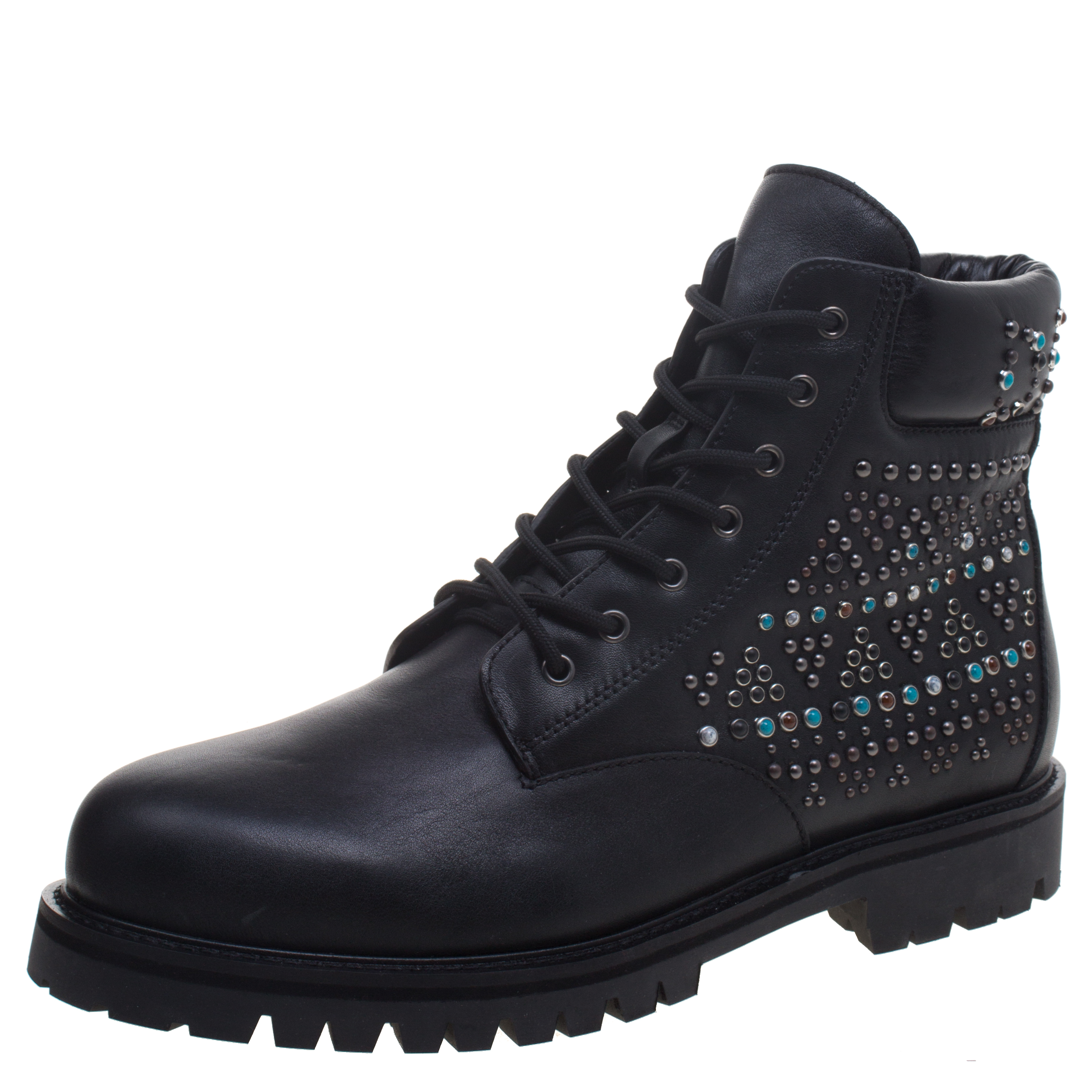 Valentino Black Leather Rolling Rockstud Dreamer Combat Boots Size 44