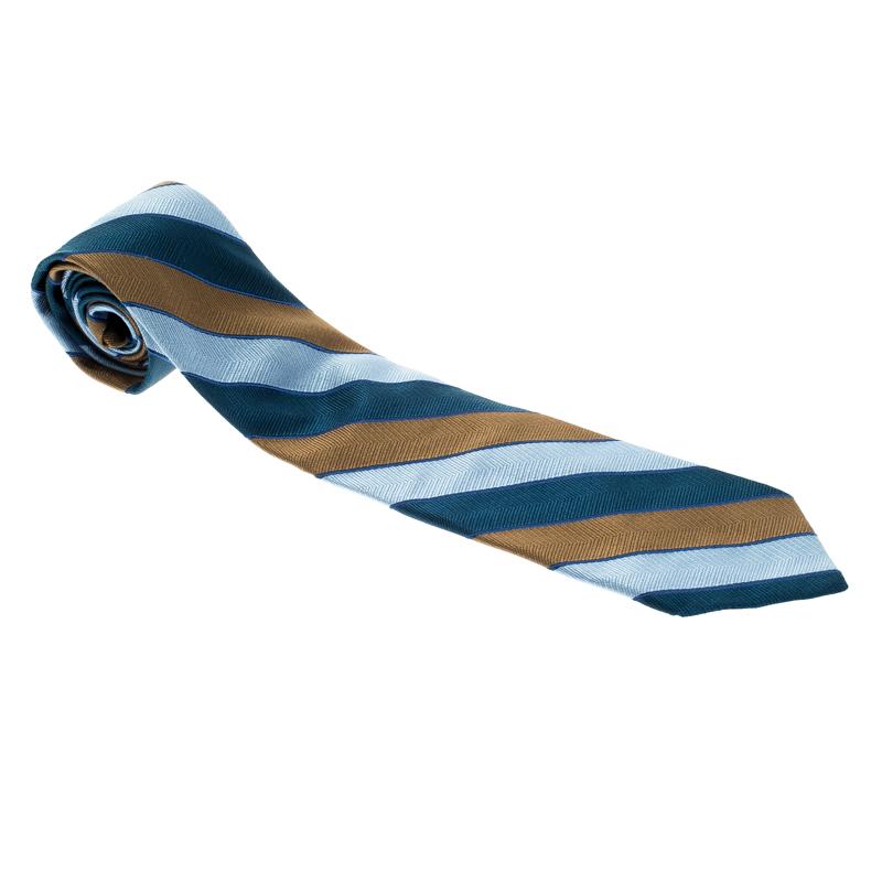 Купить со скидкой Valentino Multicolor Striped Woven Silk Traditional Tie