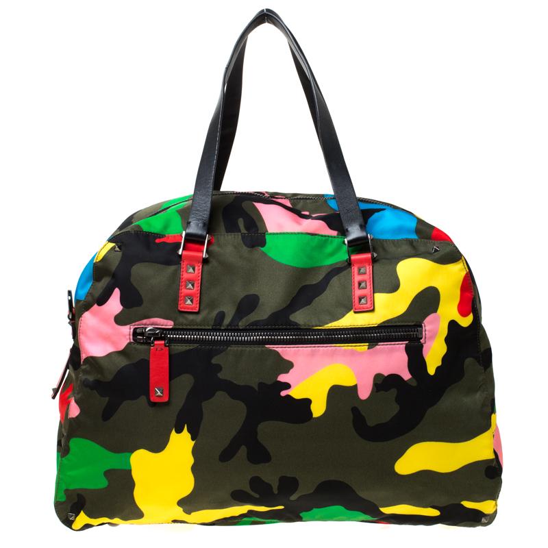 Valentino Multicolor Nylon Large Rockstud Holdall Duffle Bag