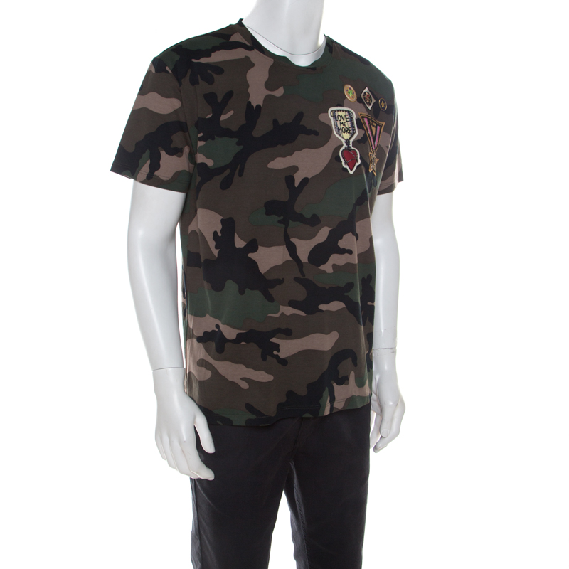 Valentino Khaki Green Camouflage Print Cotton Military Applique Detail T-Shirt