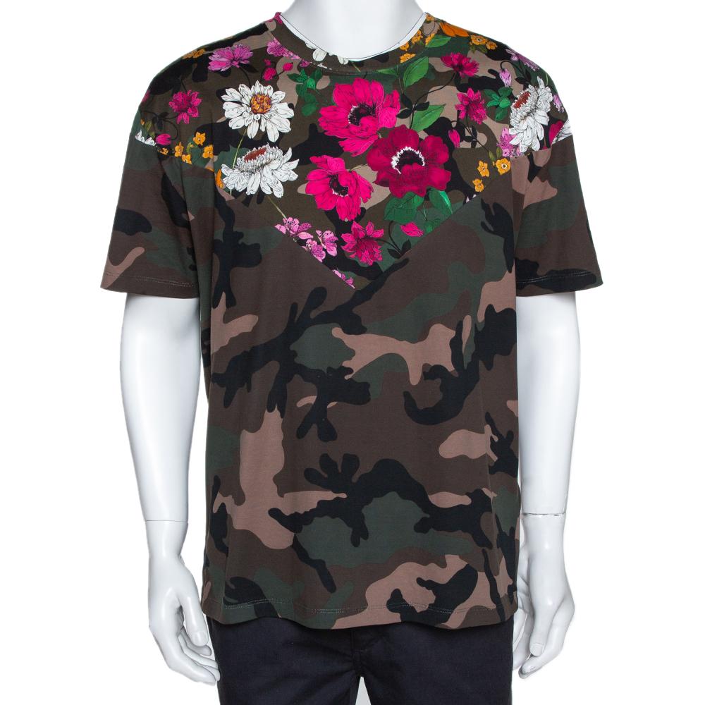 Valentino Multicolor Cotton Dew Camou Print T Shirt L