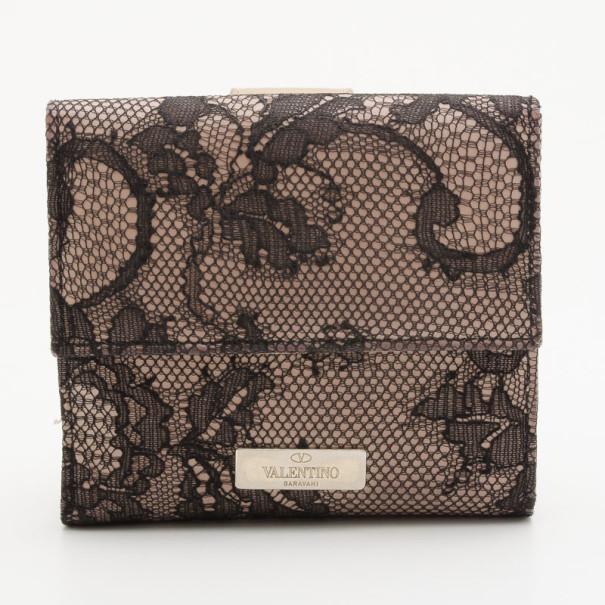 Valentino Black Lace Nylon Fused Flap Wallet
