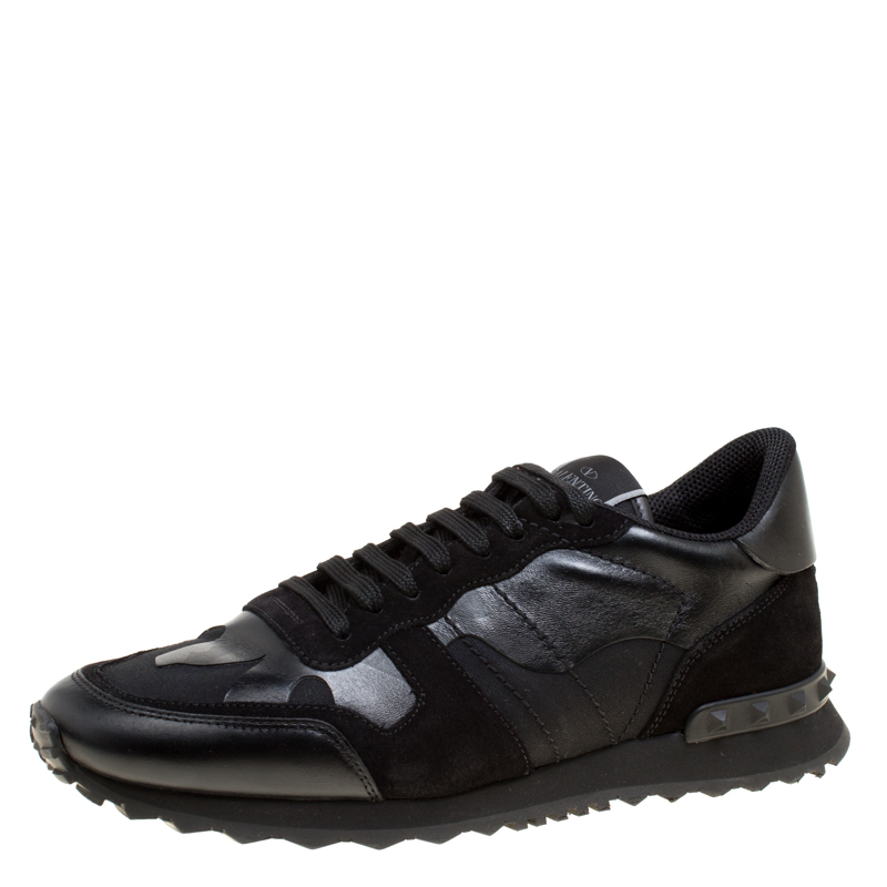 eb81c605027f9 ... Valentino Black Camouflage Leather and Suede Rockrunner Sneakers Size  42. nextprev. prevnext