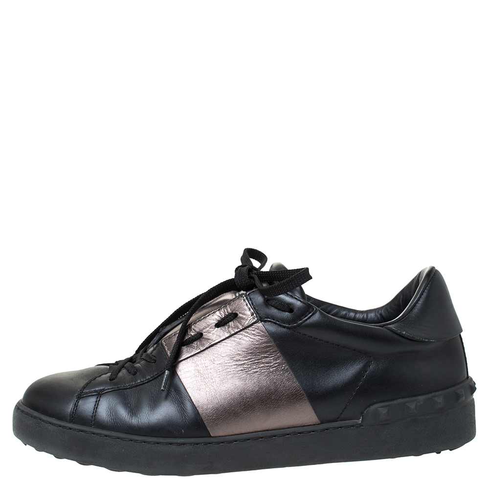 Valentino Black And Metallic Grey Band Leather Open Low Top Sneakers Size 41  - buy with discount