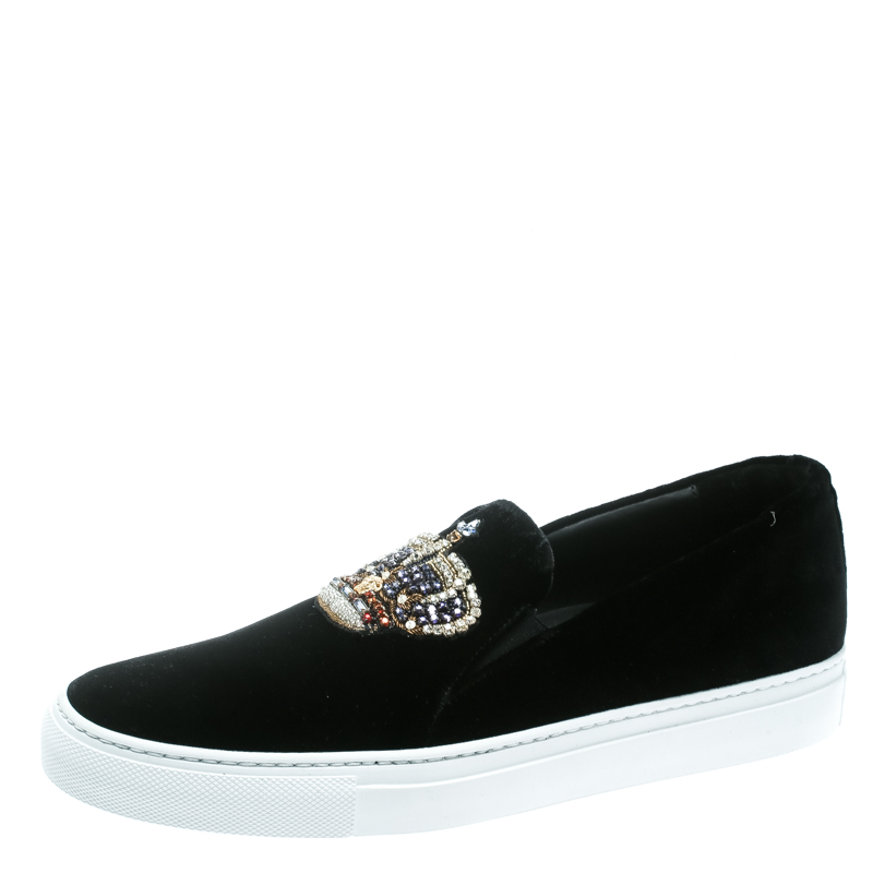 579bd1d6 Versace Black Velvet Crystal Embellished Corona Slip On Sneakers Size 40