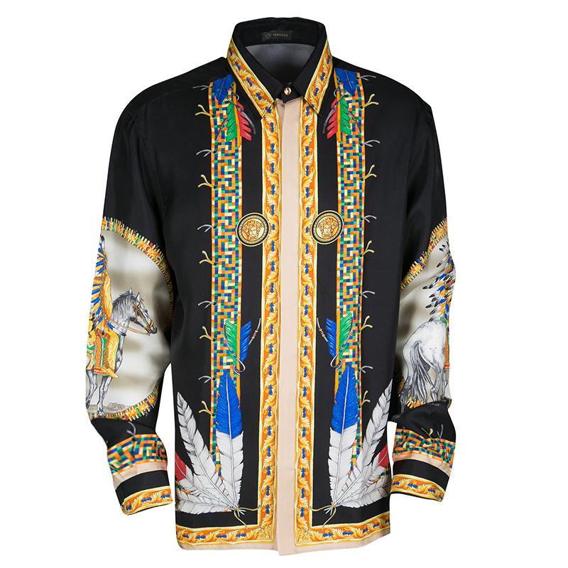 Buy Versace Black Native American Printed Silk Long Sleeve