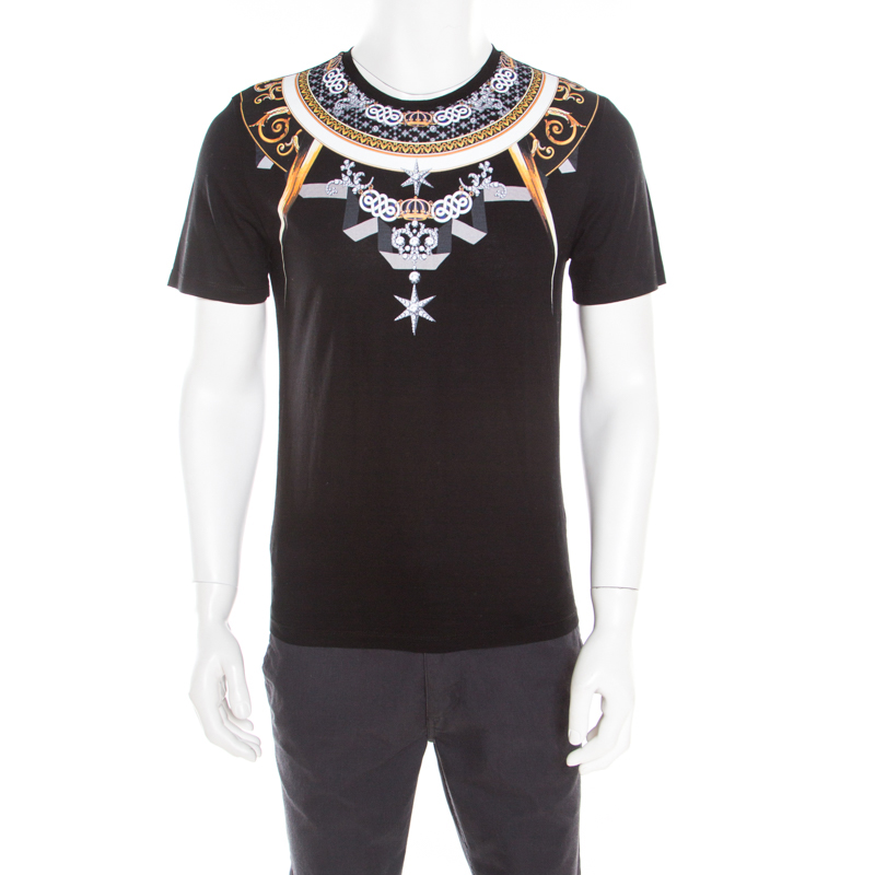 267ccfa8 Versace Collection Black Bejeweled Baroque Printed Crew Neck T- Shirt M