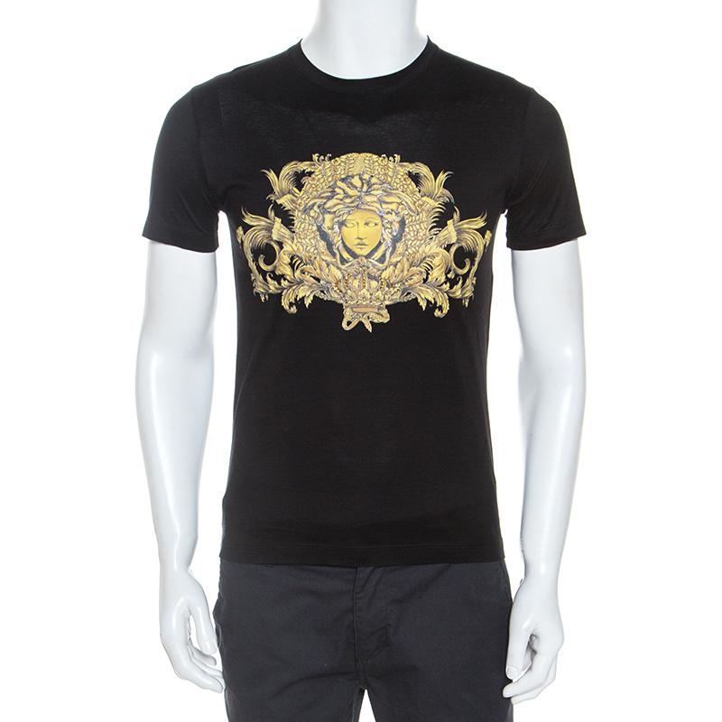 Versace Black Baroque Print Cotton Embellished Short Sleeve T-Shirt S