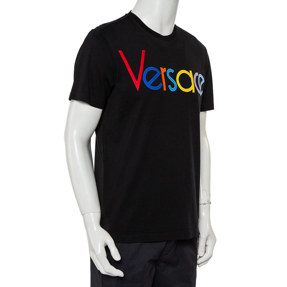 Versace Black Cotton Logo Embroidered Crewneck T-Shirt S