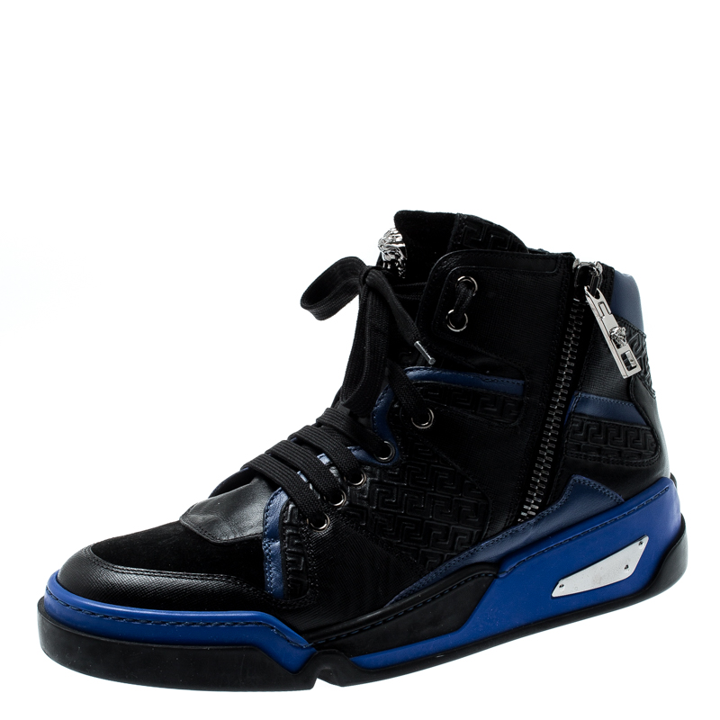 Versace Black/Blue Leather And Suede High Top Sneakers Size 42