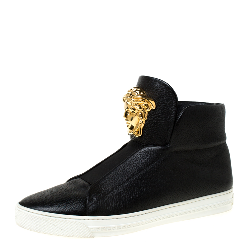 Versace Black Leather Palazzo Medusa High Top Sneakers Size 41