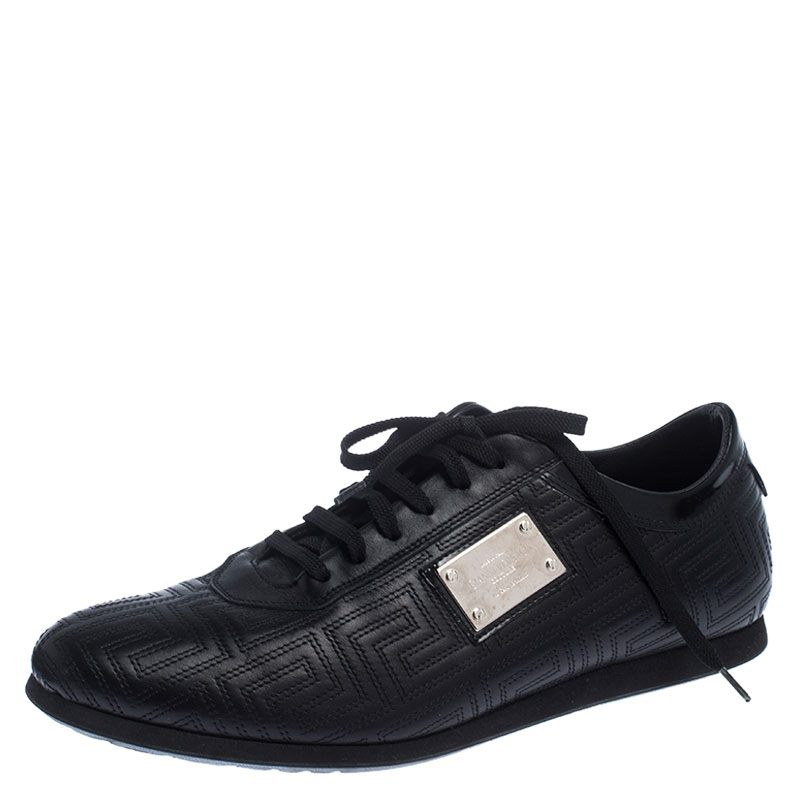 Versace Black Quilted Leather Logo Lace