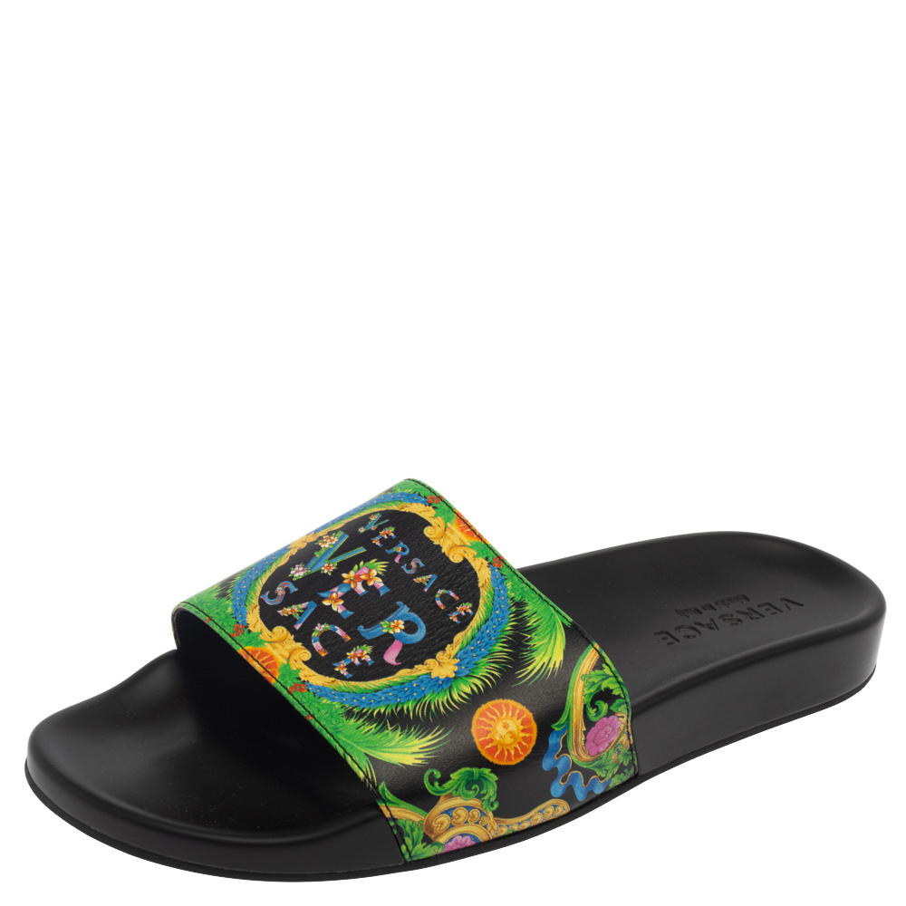 Pre-owned Versace Green Printed Leather Slide Sandals Size 43