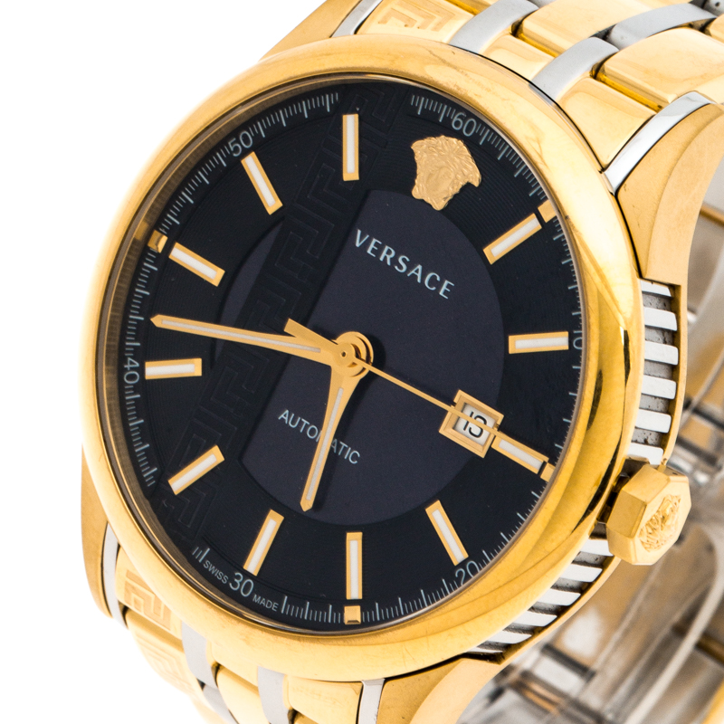 Versace Marine Plaqué Or en Acier Inoxydable Aiakos V1805-P0017 des Hommes montre-Bracelet 44MM