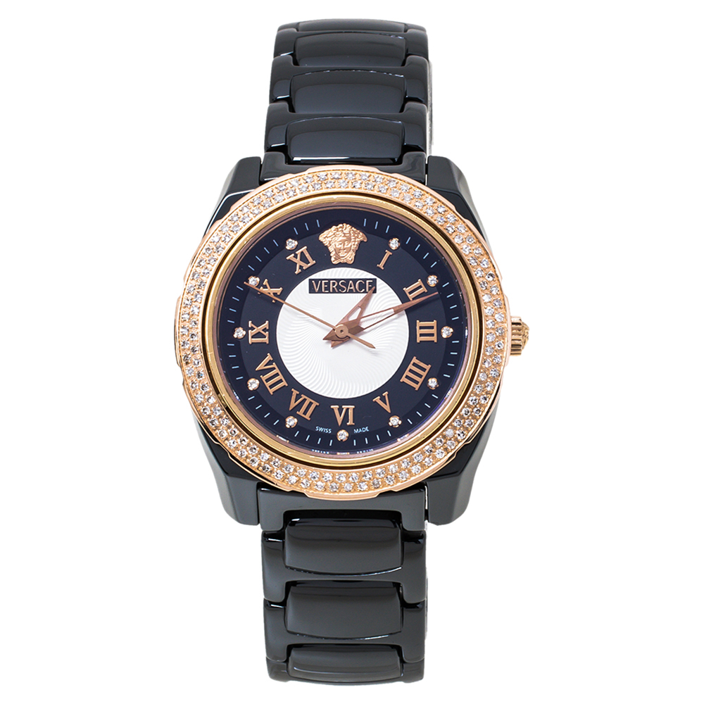 Pre-owned Versace Black Ceramic Rose Gold Stainless Steel Diamonds Dv One Glamour 63q Women's Wristwatch 34 Mm