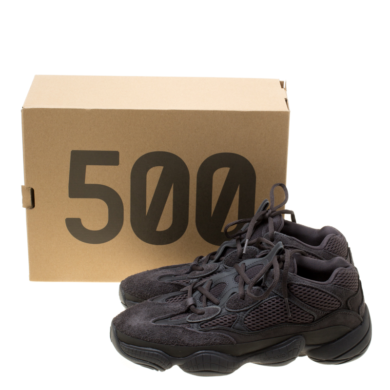 sale retailer b4a61 896b0 Yeezy x Adidas Utility Black Mesh And Suede 500 Desert Rat Sneakers Size 42