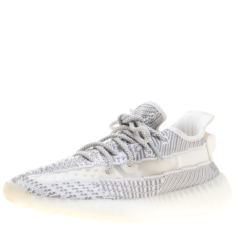 Yeezy x Adidas Grey And White Cotton Knit Boost 350 V2 Static Non-Reflective Sneakers Size 40.5