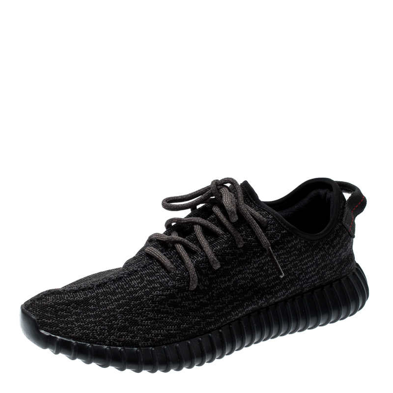 info for ff656 4d798 Yeezy x Adidas Pirate Black Cotton Knit Boost 350 Sneakers Size 45.5