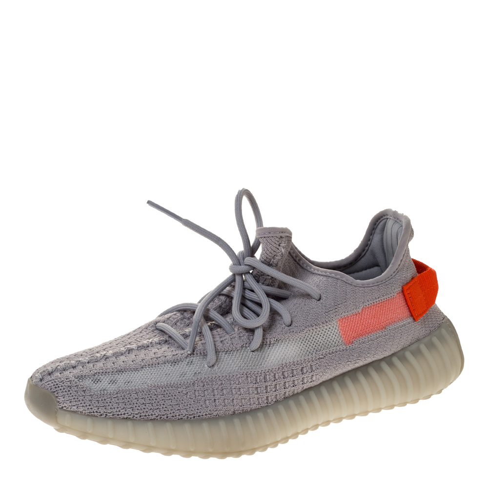 Yeezy x Adidas Grey Cotton Knit Boost 350 V2 Tail Light Sneakers Size 42