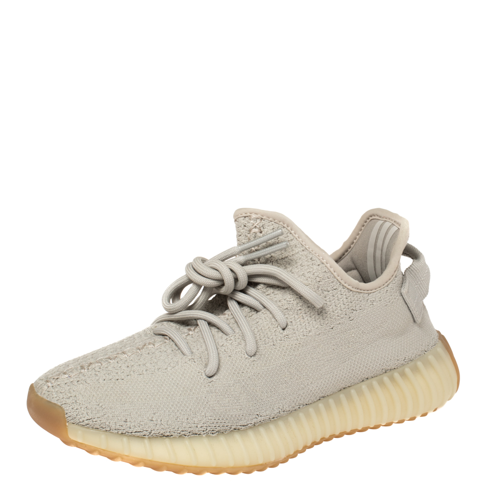 Pre-owned Yeezy X Adidas Green Sesame Cotton Knit Boost 350 V2 Sneakers Size 36.5