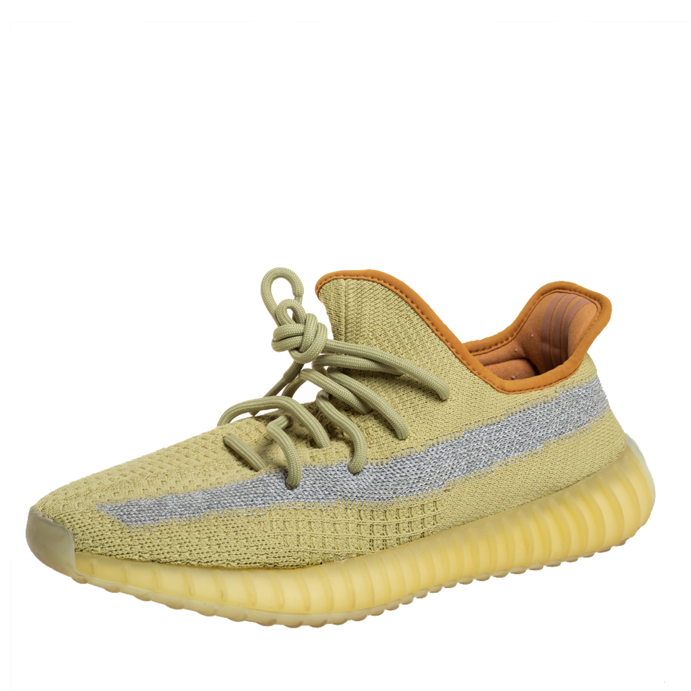 Pre-owned Yeezy X Adidas Green Knit Fabric Boost 350 V2 Marsh Sneakers Size 42
