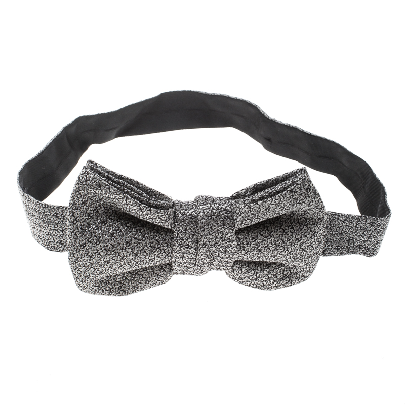 Yves Saint Laurent Grey and Black Textured Silk Jacquard Bow Tie