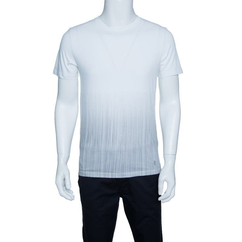 Купить со скидкой Yves Saint Laurent Paris Off White Vertical Striped Detail Short Sleeve T-Shirt M