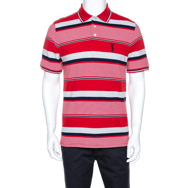 Saint Laurent Red Striped Pique Cotton Polo T-shirt M