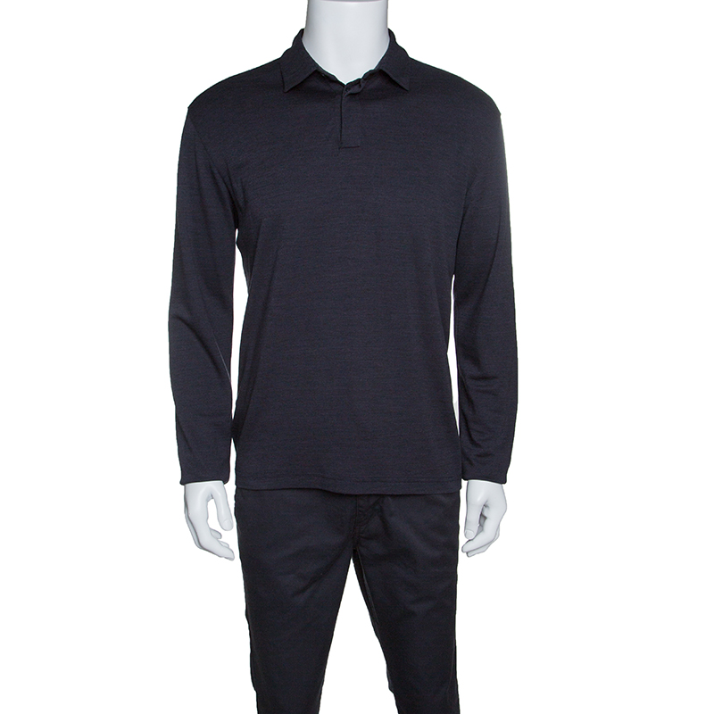 22bac79c75 Z Zegna Dark Grey Techmerino Wool and Silk Jersey Long Sleeve Polo T-Shirt L