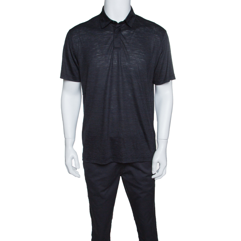 Купить со скидкой Z Zegna Techmerino Navy Blue Wool and Linen Slub Jersey Polo T-Shirt L