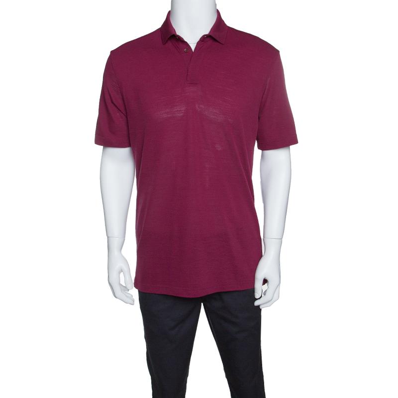 Z Zegna Techmerino Burgundy Honeycomb Knit Polo T-Shirt L