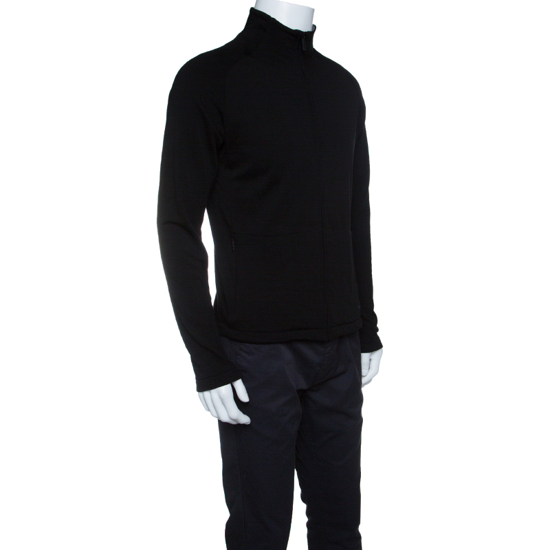 Купить со скидкой Z Zegna Technomerino Black Wool Contrast Neck Zip Front Sweatshirt M