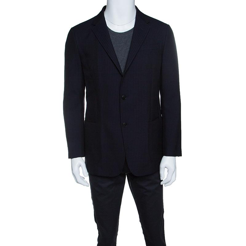 Z Zegna Navy Blue Textured Cotton Wool Turati Blazer XL