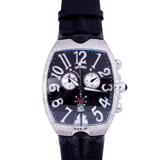 Bonja Limited Edition Platinum Diamond Banani Mens Wristwatch 42 MM