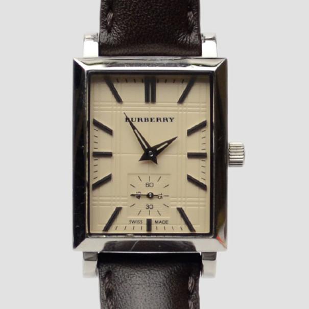 Burberry Cream Black Leather Chronograph Mens Wristwatch 38 MM