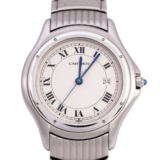 Cartier Cougar Stainless Steel Mens Watch 30 MM