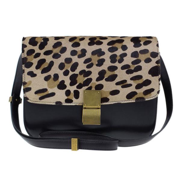 Celine Leopard Print Leather Medium Classic Box Bag