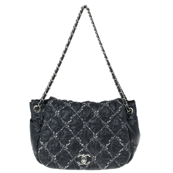 605c66a0b73a79 Buy Chanel Black Nylon Quilted Bubble Flap Bag 12490 at best price | TLC