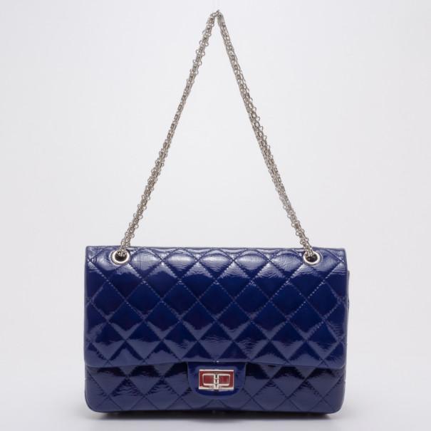 0d83a5ea961b ... Chanel 2.55 Patent Blue Double Flap Bag Jumbo 227. nextprev. prevnext